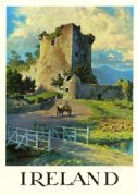 Irish Castle with Horse and Cart. Vintage Travel Poster of Ireland